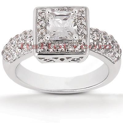 Halo 14K Gold Diamond Engagement Ring Mounting 0.76ct