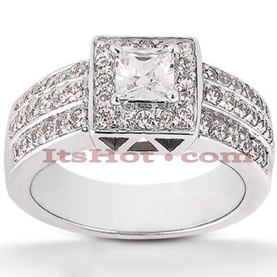 Halo 14K Gold Diamond Engagement Ring Mounting 0.78ct