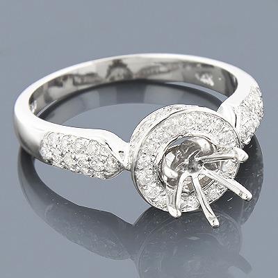 Halo 14K Gold Diamond Engagement Ring Mounting 0.79ct