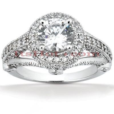 Halo 14K Gold Diamond Engagement Ring Mounting 0.81ct