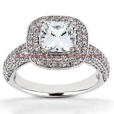 Halo 14K Gold Diamond Engagement Ring Mounting 0.84ct