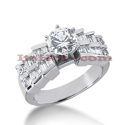 14K Gold Diamond Engagement Ring Mounting 0.84ct