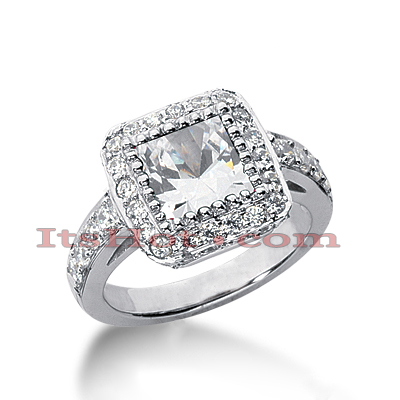Halo 14K Gold Diamond Engagement Ring Mounting 0.86ct