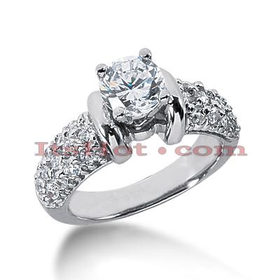 14K Gold Diamond Engagement Ring Mounting 0.86ct