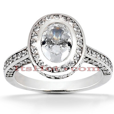 Halo 14K Gold Diamond Engagement Ring Mounting 0.89ct