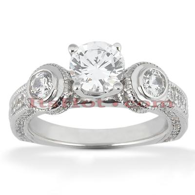14K Gold Diamond Engagement Ring Mounting 0.90ct
