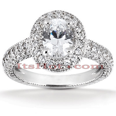 Halo 14K Gold Diamond Engagement Ring Mounting 0.92ct