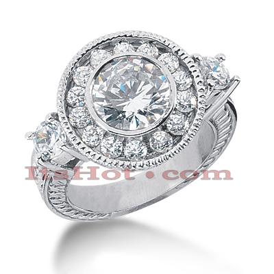 Halo 14K Gold Diamond Engagement Ring Mounting 1.06ct