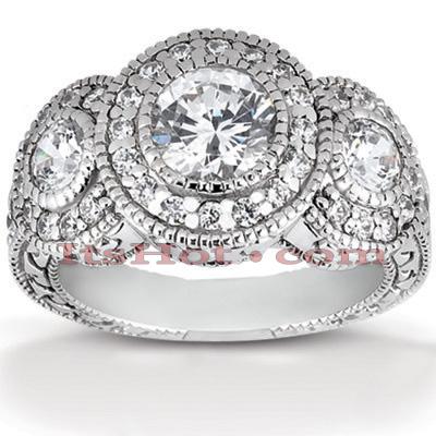 Halo 14K Gold Diamond Engagement Ring Mounting 1.09ct