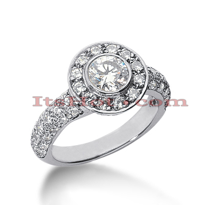 Halo 14K Gold Diamond Engagement Ring Mounting 1.15ct