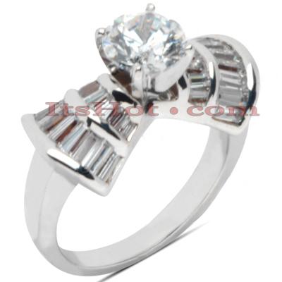 14K Gold Diamond Engagement Ring Mounting 1.30ct