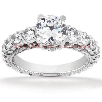14K Gold Diamond Engagement Ring Mounting 1.43ct