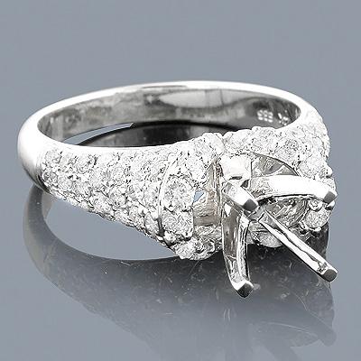14K Gold Diamond Engagement Ring Mounting 1.51ct