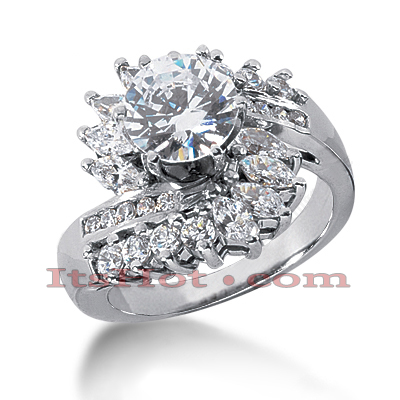 14K Gold Diamond Engagement Ring Mounting 1.62ct