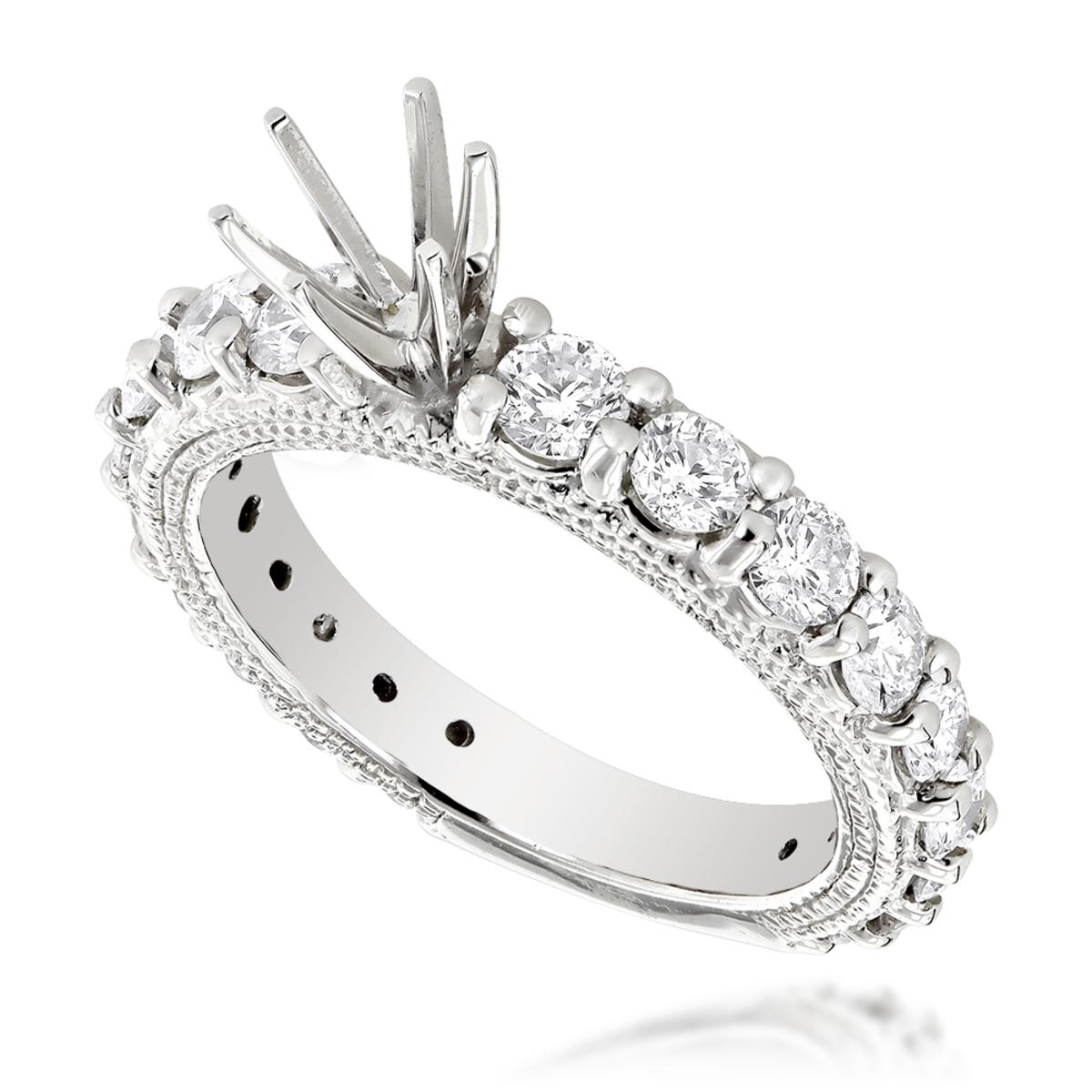 14K Gold Diamond Engagement Ring Mounting 1.76ct