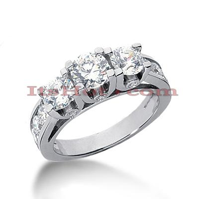 14K Gold Diamond Engagement Ring Mounting 1.89ct