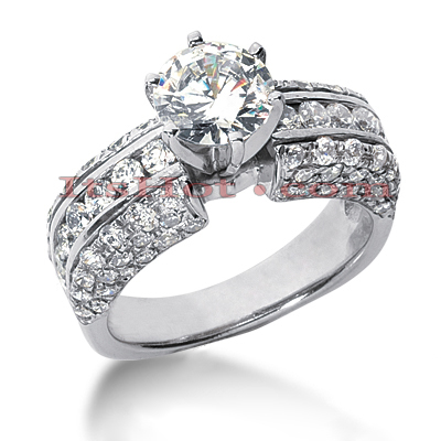 14K Gold Diamond Engagement Ring Mounting 2.12ct