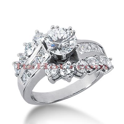 14K Gold Diamond Engagement Ring Mounting 2.14ct
