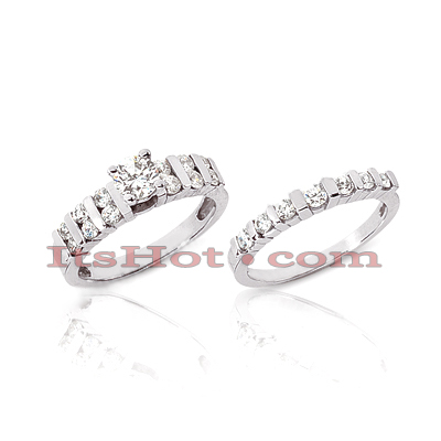 14K Gold Diamond Engagement Ring Set 0.64ct