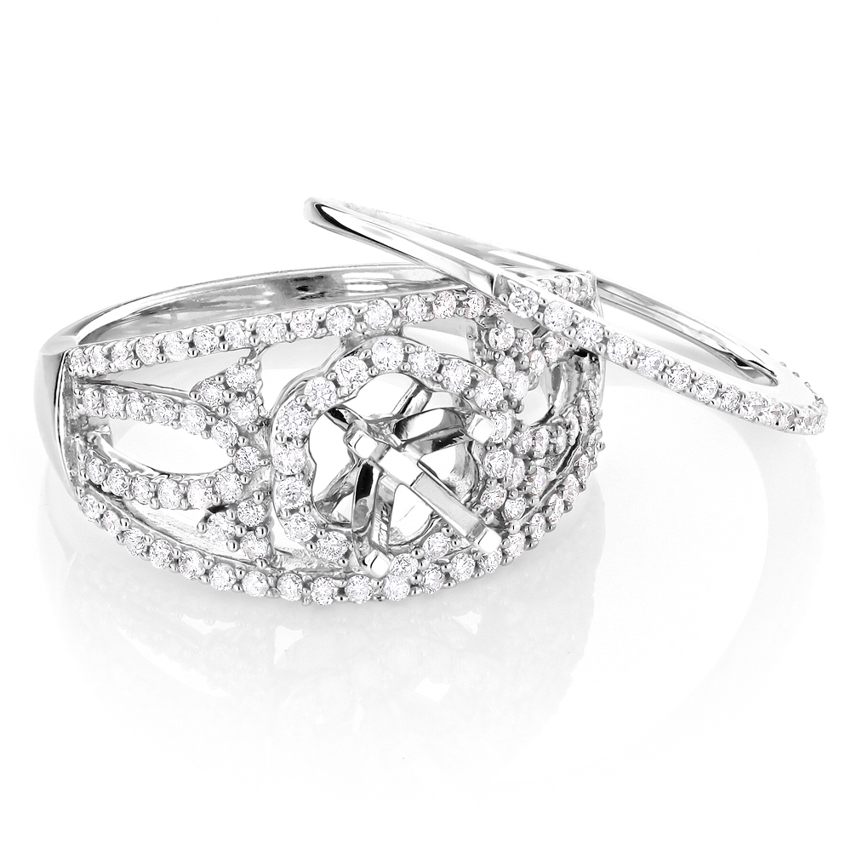 14K Gold Diamond Engagement Ring Set 0.85ct