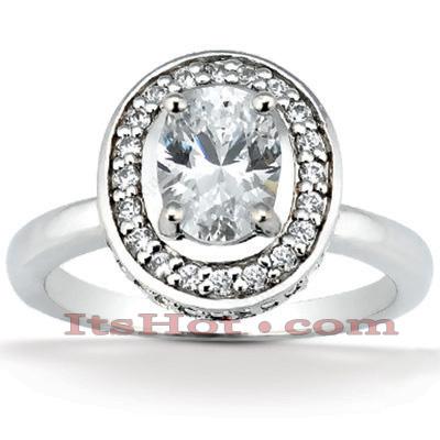 Halo 14K Gold Diamond Engagement Ring Setting 0.36ct