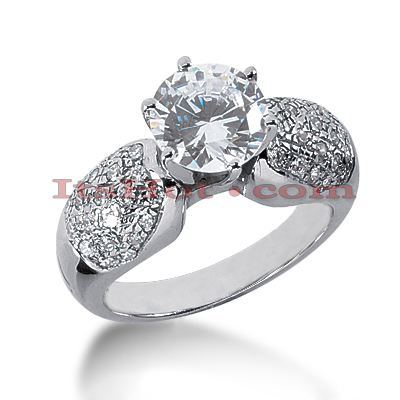 14K Gold Diamond Engagement Ring Setting 0.46ct
