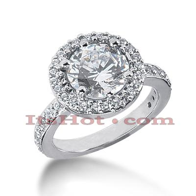 Halo 14K Gold Diamond Engagement Ring Setting 0.54ct