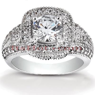 Halo 14K Gold Diamond Engagement Ring Setting 0.57ct