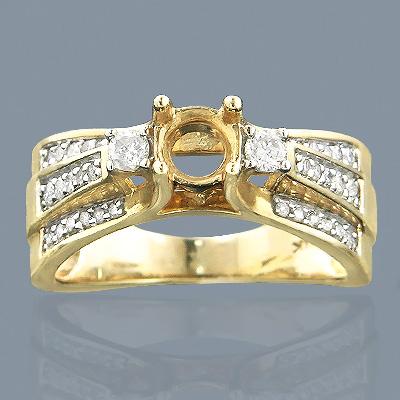 14K Gold Diamond Engagement Ring Setting 0.65ct