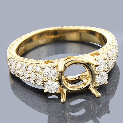 14K Gold Diamond Engagement Ring Setting 0.76ct
