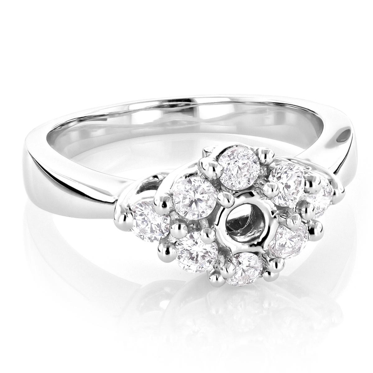 Halo 14K Gold Diamond Engagement Ring Setting 0.78ct
