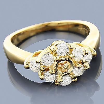 14K Gold Diamond Engagement Ring Setting 0.78ct