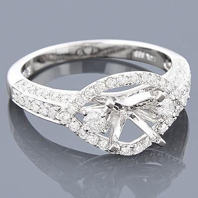 14K Gold Diamond Engagement Ring Setting 0.85ct