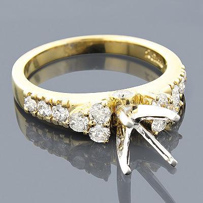 14K Gold Diamond Engagement Ring Setting 0.93ct