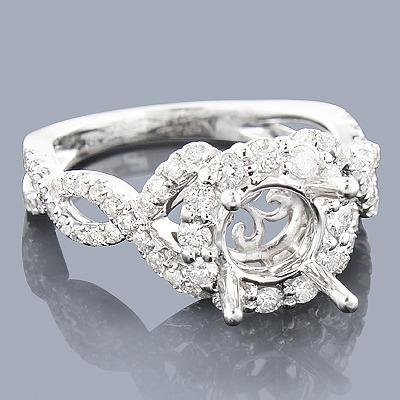 Halo 14K Gold Diamond Engagement Ring Setting 1.00ct