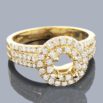 Halo 14K Gold Diamond Engagement Ring Setting 1.15ct