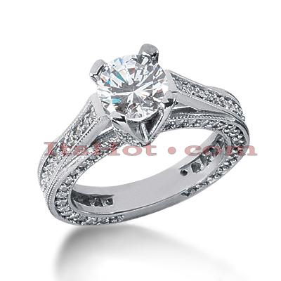 14K Gold Diamond Engagement Ring Setting 1.18ct