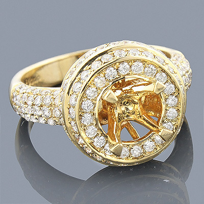 Halo 14K Gold Diamond Engagement Ring Setting 1.33ct