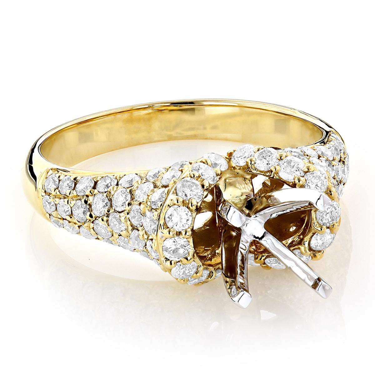 14K Gold Diamond Engagement Ring Setting 1.50ct