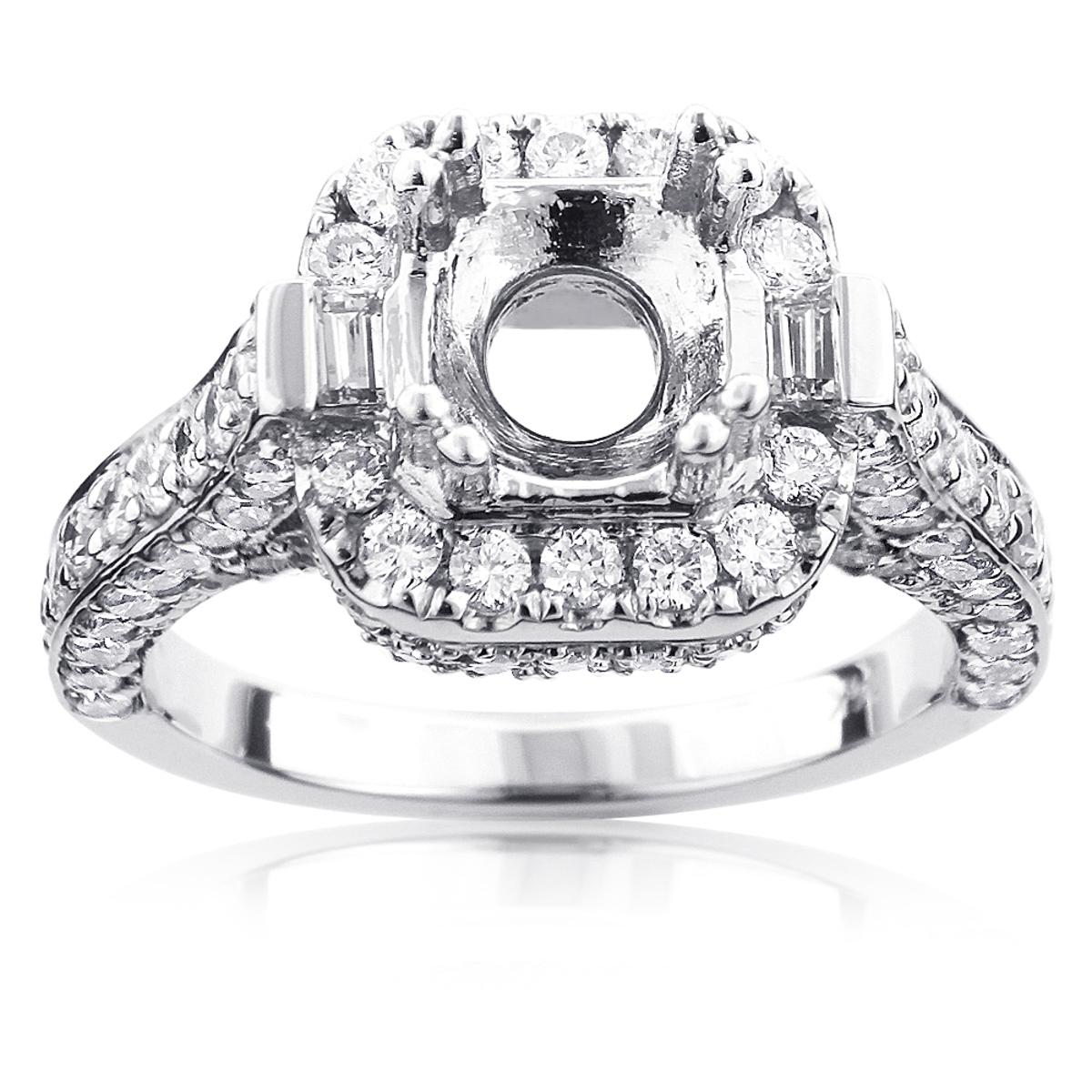 14K Gold Diamond Engagement Ring Setting 1.75ct Halo Semi Mounting