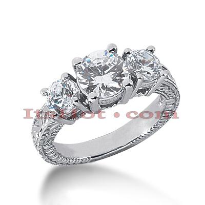 14K Gold Diamond Engagement Ring Setting 1ct