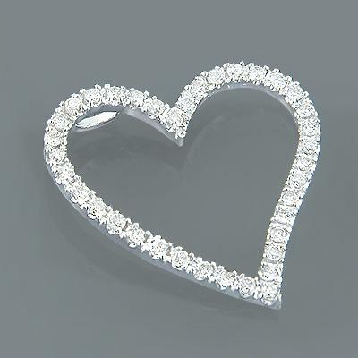 14K Gold Diamond Floating Heart Pendant 1.26ct
