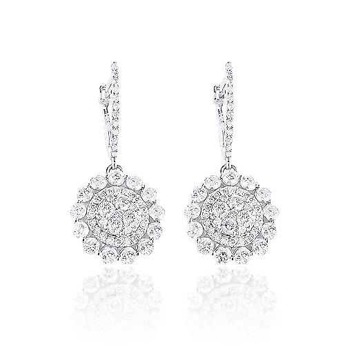 14K Gold Diamond Flower Earrings 1.75ct