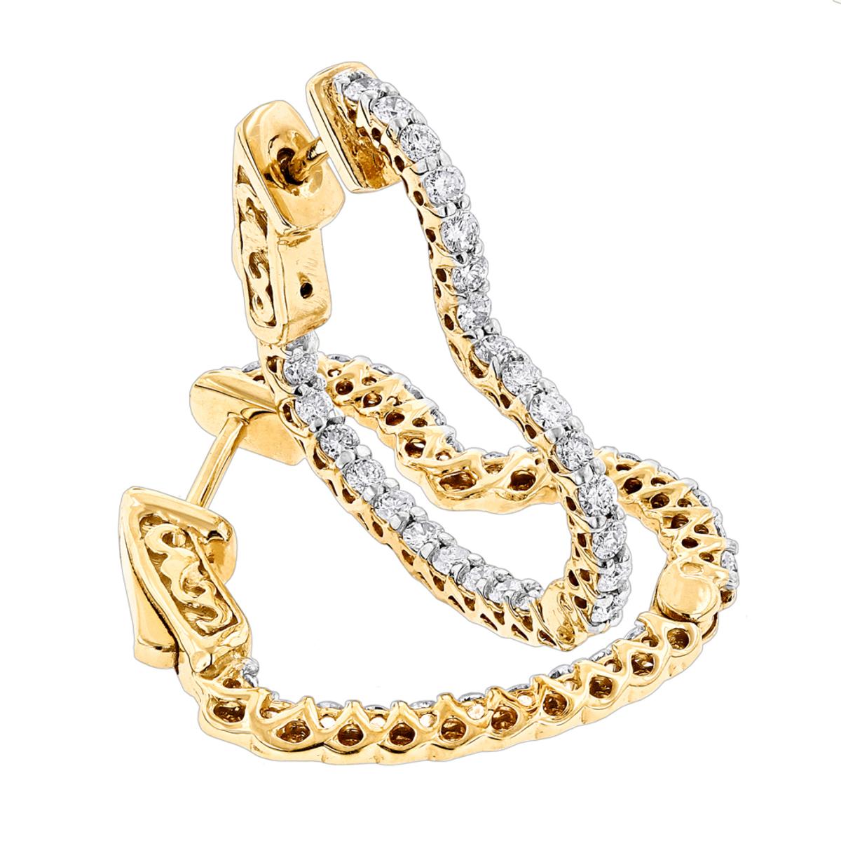 14K Gold Heart Diamond Hoop Earrings Inside Out Design 1 Carat by Luxurman