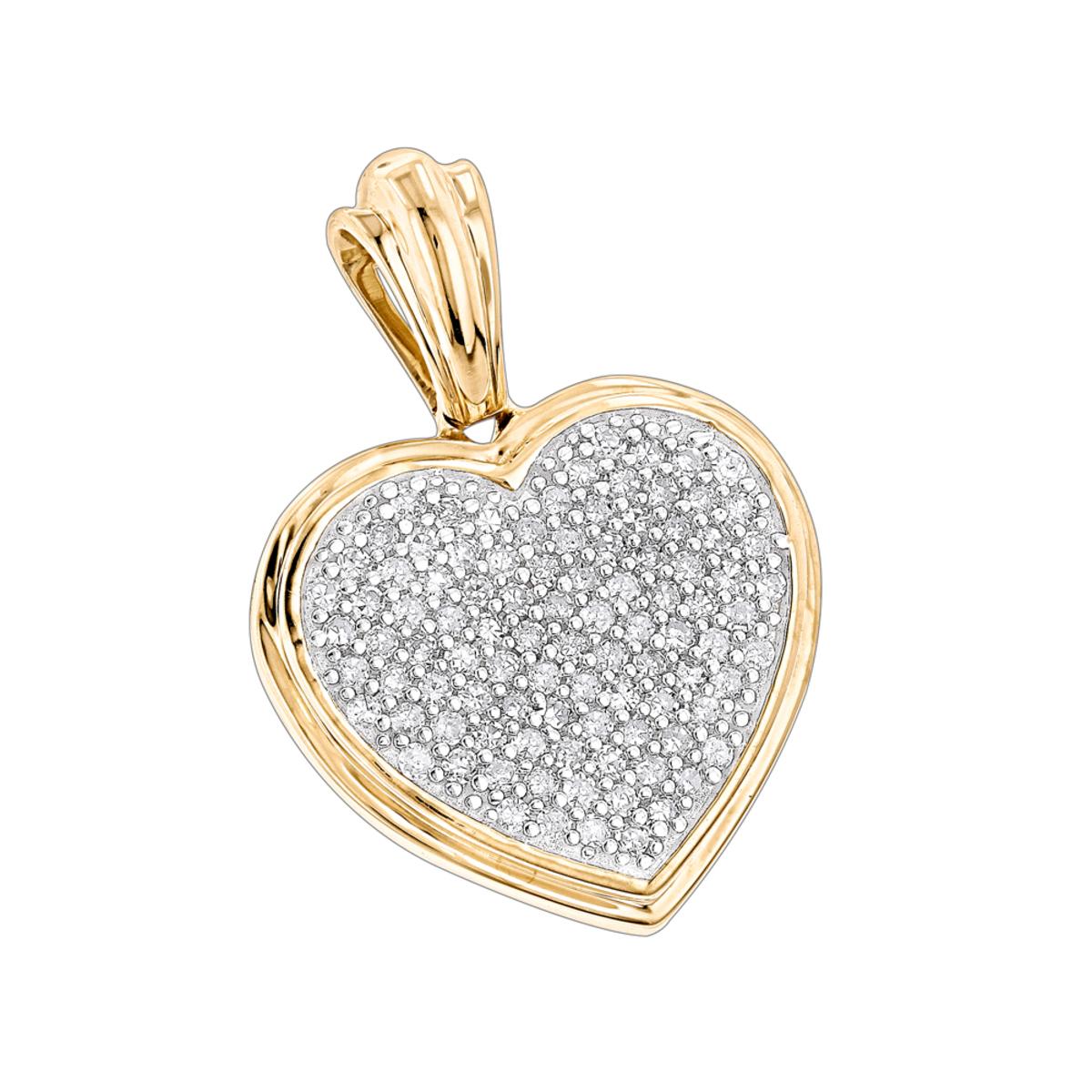 14K Gold Diamond Heart Pendant 0.33ct