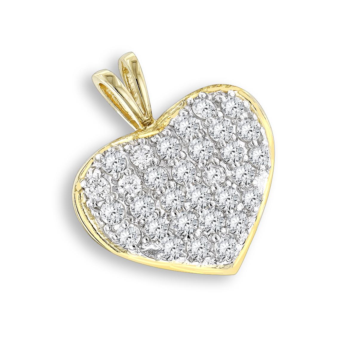 14K Gold 1 Carat Diamond Heart Pendant by Luxurman