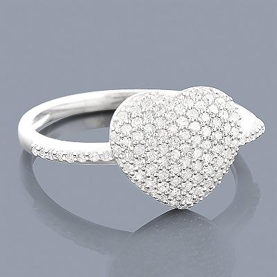 14K Gold Diamond Heart Ring for Women 0.46ct