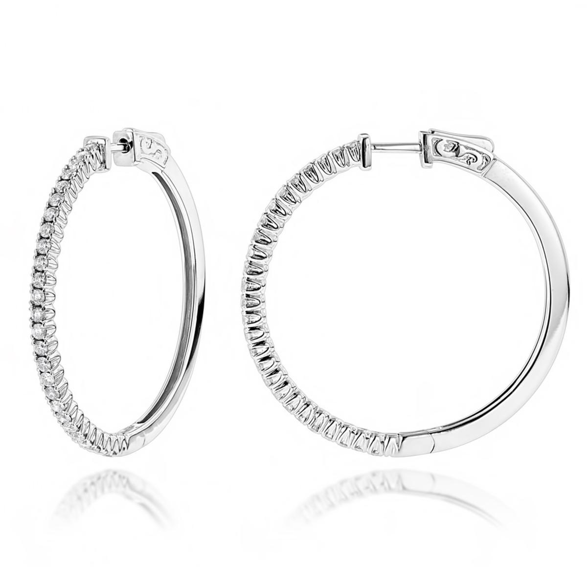 14K Gold Diamond Hoop Earrings 1.2ct