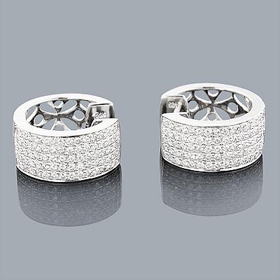 14K Gold Small Diamond Hoop Earrings 1.96ct Diamond Huggies
