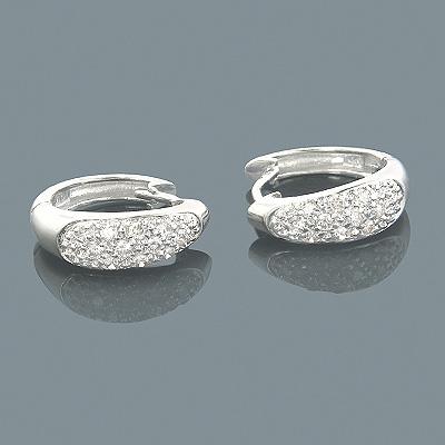 14K Gold Diamond Huggie Earrings 0.37ct